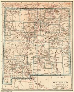 1921 Antique New Mexico State Map Original Vintage Map Of New Mexico 6531