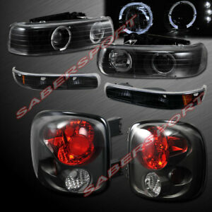 Black Halo Projector Headlights Altezza Taillight For 99 02 Silverado Stepside
