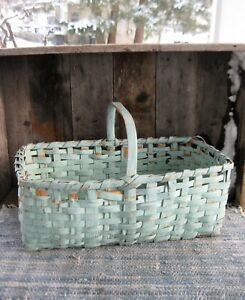 Antique Gathering Basket Original Robins Egg Blue Paint Free Shipping