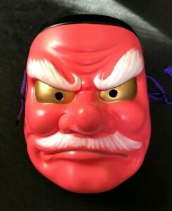 Japanese Tengu Long Nose Noh Mask Pottery Omen Ornament Kabuki Samurai Demon