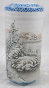 Vintage Chinese Brush Pot Winter Scene Late Republic Period 5 1 8 Inches Tall
