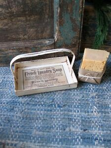 Antique Tin French Laundry Soap Basket With Lye Soap Bar Free Shipping