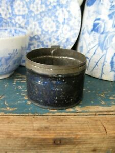 Early Antique Child S Toy Tin Cup Original Blue Paint Stencils A Gift Freeship