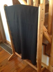 Amish Hand Made Black Wool Blanket 63 X 60 Carriage Sleigh Lap Plain Very Warm