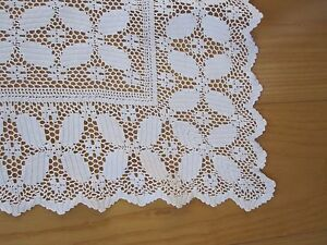 Antique White Linen Crochet Lace Tablecloth Table Topper 46 X 48 Excellent Cond