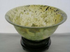 Small Delicate Beautifully Hand Carved Chinese Footed Jade Bowl Spinach Details