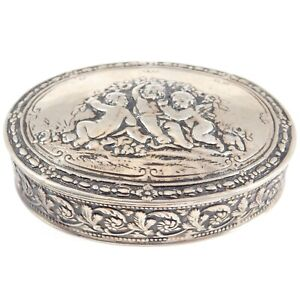 Ornate Repousse 800 Silver German Cherubs Angels Snuff Or Decorative Box