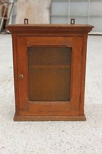 Antique Massive Oak Wooden Cupboard Cabinet With Glass Door