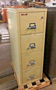 4dr Letter Size Fire proof File Cabinet By Fire King W Lock Key In Putty