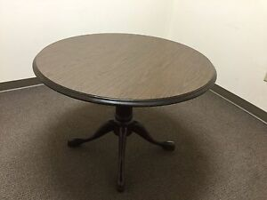 42 Round Traditional Style Conference Table By Bevis In Walnut Finish Laminate