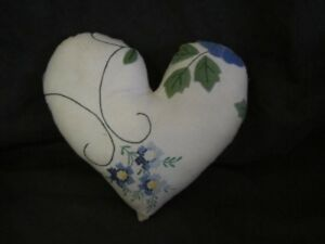 Primitive Heart Pillow Vintage Linen Tablecloth Blue Flowers 23