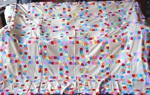 Antique Double Wedding Ring Quilt Top 90 By 76 Great Condition