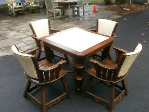 Vintage Romweber Viking Oak Leather Top Game Card Table 4 Leather Back Chairs