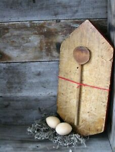 Early Antique Wood Bread Cutting Board Original Red Paint W Early Spoon