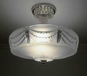 1930s Vintage Art Deco Frosted Satin Glass Ceiling Light Fixture Beaded Drape