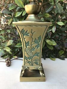 Vintage Ornate Oriental Style Table Lamp Brass 27 Tall Floral Inlay Design