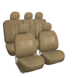 Tan Universal Cloth Car Seat Covers Set With Headrest Cover For Truck Suv