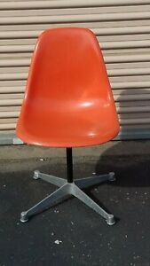 Herman Miller Orange Fiberglass Shell Chair W Contract Swivel Base 1958
