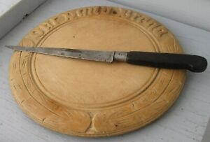 Antique Wooden Round Bread Board Our Daily Bread W Wheat Pattern