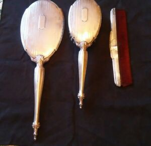 Antique Webster Co Sterling Silver Vanity Set Brush Comb And Handheld Mirror