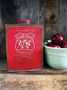 Lg Early Antique Tea Tin With Original Red Paint And Stencils