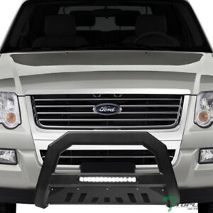 Topline For 2006 2010 Ford Explorer Avt Aluminum Led Bull Bar Guard Matte Black