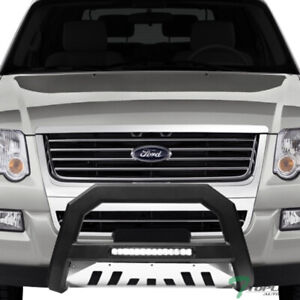 Topline For 2006 2010 Ford Explorer Avt Aluminum Led Bull Bar Matte Blk Ss Skid