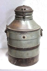 Vintage Antique Indian Handmade Iron Milk Can Decorative Collectible Ps98