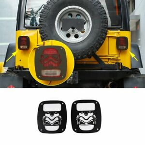 2 Rear Tail Light Cover Guard Flatbed Robot For Jeep Wrangler Tj 1997 2006 Black