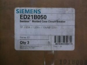 Lot Of 3 Siemens Ed21b050 Circuit Breaker 50a 120v new In Box