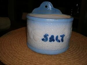 Vintage Blue White Stoneware Butterfly Salt Crock Pottery Sit Or Wall Hang