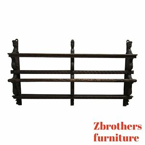Vintage Oak Italian Figural Carved Hand Plate Rack Display