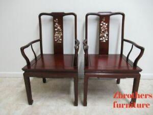 2 Vintage Rosewood Chinese Chippendale Mother Of Pearl Dining Room Arm Chairs