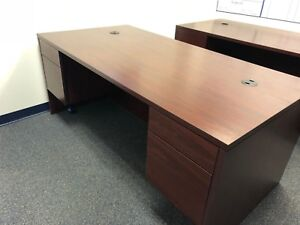 72 w X 36 w Executive Desk By Hon Office Furniture In Mahogany Finish Laminate