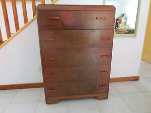 Antique Waterfall Chest Of Drawers Dresser Bakelite