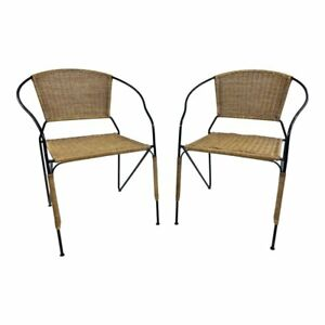 Vintage Wicker Chair Pair Mid Century Modern Iron Boho Chic Hairpin Rattan Patio