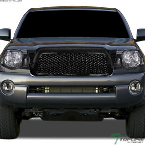 Topline For 2005 2011 Toyota Tacoma Mesh Front Hood Bumper Grill Grille Black