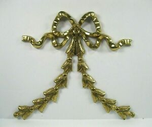 Victorian French Style Metal Brass Bow Ribbon Architectural Applique Accent