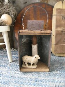 Primitive Tin Lantern With Antique Toy Lamb And Battery Operated Candle