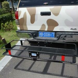Coated Black Fold Up Hitch Rear Mount Cargo Carrier Basket Baggage Box 60 20
