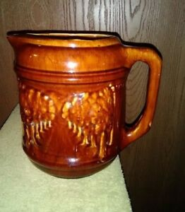 1 2 Gallon Pottery Pitcher By Brush Mccoy Brown Woodland 134 Circa 1913