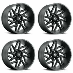 Set 4 20 Vision Spyder 361 Black Wheels 20x12 8x6 5 51mm Lifted Truck Rims