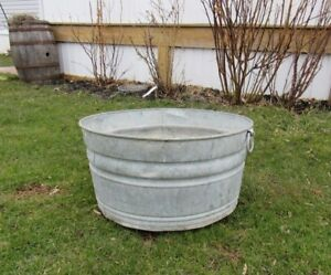 Vintage Galvanized Fireplace Coal Ash Flower Water Bucket Pail Can Primitive