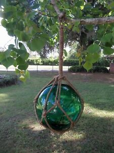 Reproduction Green Glass Float Fishing Ball Float Buoy 12 In Rope Net