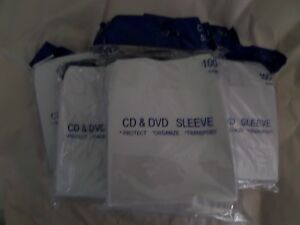 500 Cd Dvd Sleeves White In Bag Brand New Paper Sleeves