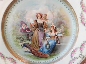 Imperial Crown China Austria Gilded Show Plate Gorgeous Decor Ladies Peacock