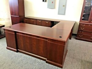 6 x8 3 x9 Exec traditional U shape Desk By Steelcase In Dark Cherry Wood Finish