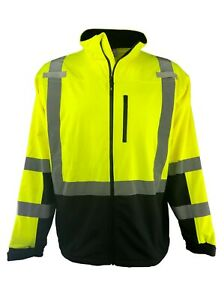 Hi Vis Safety Soft Shell Jacket Full Zip Ansi Class 3 Men s S 6xl