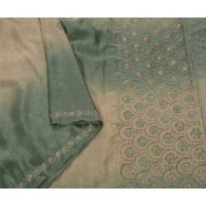 Tcw Vintage Saree Satin Silk Hand Beaded Fabric Premium 5 Yd Ethnic Sari