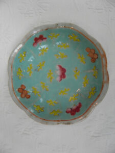 Antique Chinese Round Floral With Aqua Interior Porcelain Footed Bowl Plate